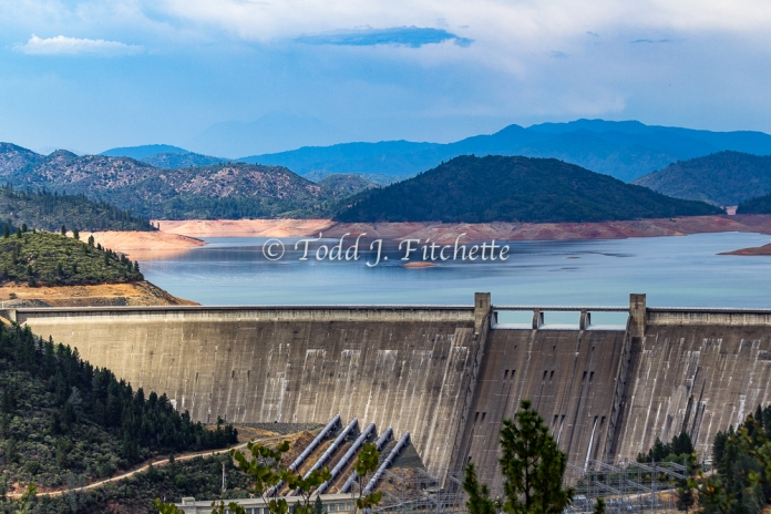 Shasta Lake in summer, 2014 at about 150 feet or 2.5 million acre feet short of capacity.